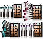 15 Colors Contour Face Cream Makeup Concealer Palette 10Pcs Cosmetic Brush Tool