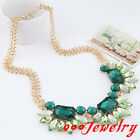 Retro Women Big Lump Crystal Acrylic Gem Flower Bib Statement Necklace Chain