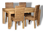 MANGO LIGHT 160CM DINING TABLE & 4 RATTAN CHAIRS (H11L)