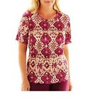 Alfred Dunner Womens Top circle oaks medallion accordion size PS PM NEW