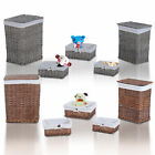 5 Wicker Baskets Sets Lidded Storage Home Hamper Laundry Small Medium Large Box
