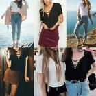 Sexy Women V-Neck Lace Up T-Shirt Summer Casual Short Sleeve Tops Blouse