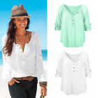 Womens Fashion Loose Chiffon Long Sleeve Blouse Large Casual T Shirt Tops New