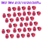 Alloyed Red M3 M4 Knurled Head Thumb Nut Fastener for Tripod 2/5/10/20/30Pcs