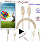 2.4A Magnetic Micro USB Metal Plug Charging Cable charger for Samsung Android LG