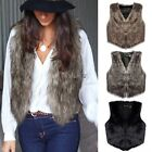 Womens Faux Fur Waistcoat Gilet Jacket Coat Sleeveless Outwear Short Warm EA77