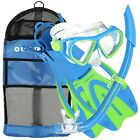 US Divers Kids Dorado Mask, Dry Snorkel, ProFlex Fins & Bag - LARGE - NEW
