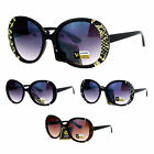 SA106 Womens Round Reptile Leather Trim Designer Butterfly Sunglasses