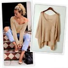 1 Pc Hot New Fashion Women Solid Hollow Bat Loose Outerwear Pullover Sweaters