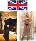 UK SELLER Bodystocking Bodysuits Lace Sheer Opaque Fishnet One & Plus Size 6-22