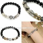Unisex Cool Buddha Lion Head Black White Agate Gemstone 8MM Beads Bracelet