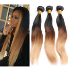 3 Bundles BRAZILIAN Ombre Straight Real human hair Extensions 150g #1b#4#27