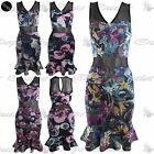 New Womens Sleeveless Ladies V Neck Floral Mesh Party Pencil Bodycon Midi Dress