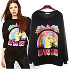 Trendy Women Long Sleeve Pullover Shirt Fall T Shirt Casual Sweater Cute Unicorn
