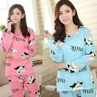 New Cute Women Long Sleeve Sleepwear Cartoon Pajamas Set Leisurewear Homewear
