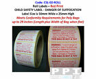 WARNING DANGER OF SUFFOCATION Labels for Polythene Poly Plastic Bags CSL-02-ROLL