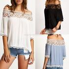 Sexy Women Off Shoulder Short Sleeve T-Shirt Casual Slim Lace Tops Blouse NEW