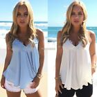 Womens Loose Summer Sleeveless Chiffon Vest Tops Casual Tank Top Blouse T-shirt