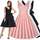 New Sexy V Neck Vintage 1950s 60s Swing Pinup Housewife Evening Party Prom Dress