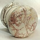OFF-WHITE CHERUB ANGELS CRACKLE AGED SHABBY CHIC DRESSER HANDLE KNOB DRAWER PULL