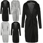 Womens Long Sleeve Oversized Baggy Belted Waterfall Ladies Knitted Cardigan