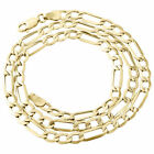 Mens Real 10K Yellow Gold Figaro Chain 5mm Necklace High Polished 16-30 Inches