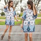 Women Bohemian Floral Print Loose Half Sleeve Party Evening Cocktail Dress Hot