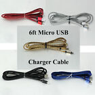 6ft  Braided USB Data Sync Charger Micro USB Cable for Samsung HTC LG Android