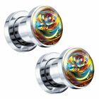 "Yellow Marble Steel Screw-On Artisan Plugs 6G - 1"" - Pair"
