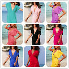 Womens Girls V-neck Summer Beach Top Mini Dress Pullover Bikini Cover Up