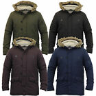 Mens Parka Jacket Brave Soul Coat Sherpa Fleece Hooded Padded Winter New