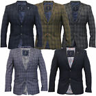 Mens Blazer Cavani Coat Dinner Suit Slim Fit Jacket Tartan Checked Formal Casual
