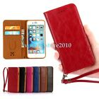 Premium Genuine Leather ID Card Slot Magnetic Flip Wallet Case Cover for iPhone