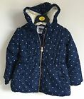 Ex Primark Girls Winter Fleece Lined Navy Spot Jacket Coat