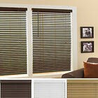 "Mini Window Blinds 2"" Inch Faux Wood Grain Plantation Blind White Maple Mahogany"