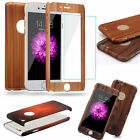 New 3 in 1 Front Back Tempered Glass Wood Design Case Cover for Phone 5 5s 6 6s
