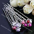 10x Bridal Wedding Crystal Pearls Flower Hairpin Hair Clip Barrette Bridesmaid
