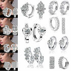 Fashion Women's Crystal 925 Silver Plated Ear Stud Hoop Earrings Jewelry Gifts