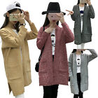 Autumn Women Long Sleeve Knitted Cardigan Loose Sweater Coat Plus Size Outwear