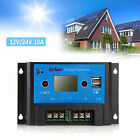 New LCD PWM Solar Panel Charge Controller Dual USB Regulator Protection 12V/24V