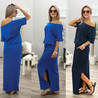 Sexy Women Side Split Ladies Short Sleeve Long Maxi Evening Party Cocktail Dress
