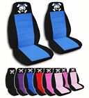 2 Front Girly Pirate Skull Velvet Seat Covers with 9 Color Options