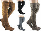 NEW LADIES WOMEN OVER THE KNEE THIGH HIGH RUFFL LONG LOW HEEL BOOT SHOES SIZE3-8