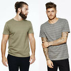 Mens Bellfield T-Shirt Short Sleeve Woven Smart Casual Jacquard Tee Crew Neck