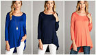 Women Hi Lo 3/4 Sleeve Tunic Top T-shirt Blouse