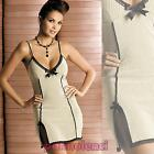 Chemise split bow lace WILL Chemise bands vertical beige OB1684