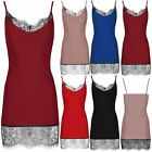 Womens Ladies Cami Contrast Lace Trim Sleeveless Strappy Bandage Bodycon Dress