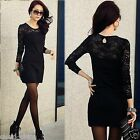 Chic Womens Sexy See-through Lace Long Sleeve Casual Tube Mini Dress Black White