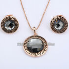 A1-S089 Fashion CZ Solitaire Earrings & Necklace Jewelry Set 18KGP Crystal