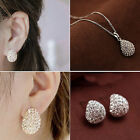 Women's Silver Gold Plated Crystal Rhinestone Necklace Stud Earrings Jewelry Set